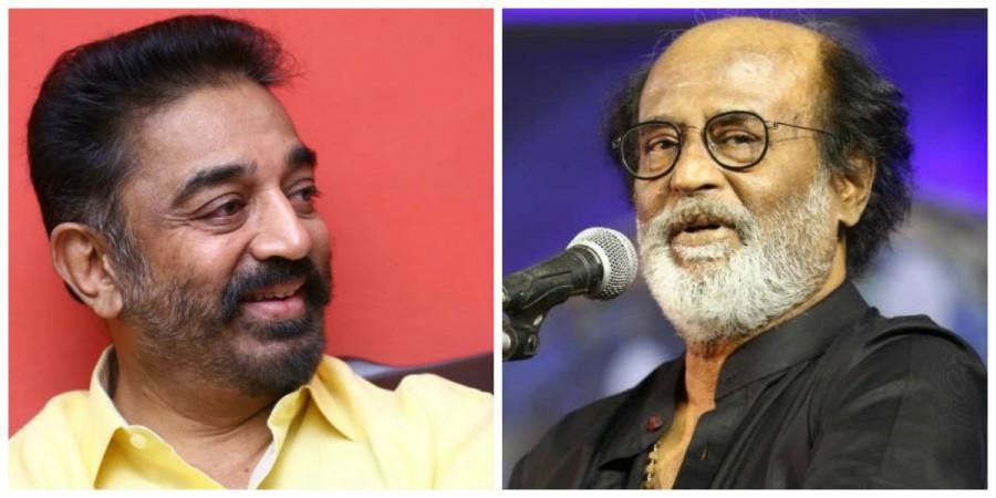 Kamal Hassan (Left) and Rajinikanth (right)