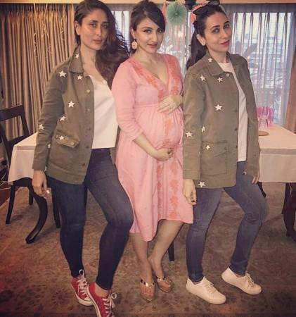 Kareena Kapoor Khan, Karisma Kapoor at Soha Ali Khan's baby shower