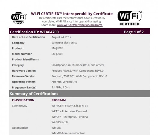 Samsung, Galaxy J7 (2016), Android Nougat, Wi-Fi Alliance, certification