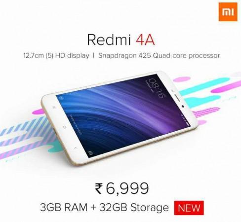 Xiaomi, Redmi 4A, launch, price, specifications