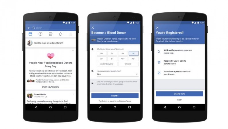 Facebook, Blood Donation, feature
