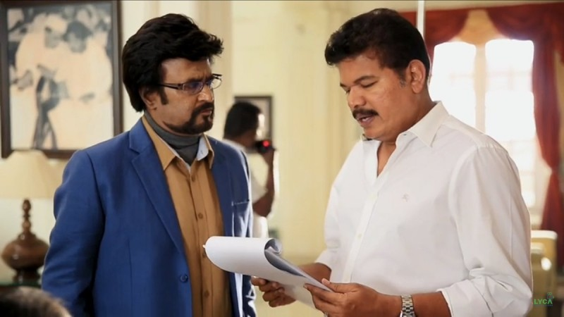 Rajinikanth with Shankar on the sets of 2.0 aka Enthiran 2