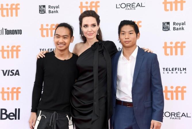 Angelina Jolie with sons Maddox Jolie-Pitt and Pax Jolie-Pitt