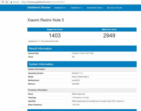 Xiaomi, Redmi Note 5, Geekbench, specifications, Snapdragon 617, Snapdragon 636
