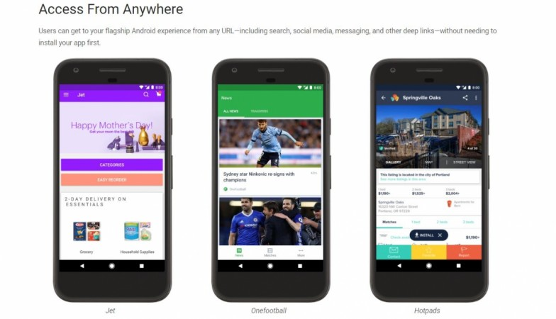 Google Android Instant Apps, Try it now, features, Android app developer subscription fee