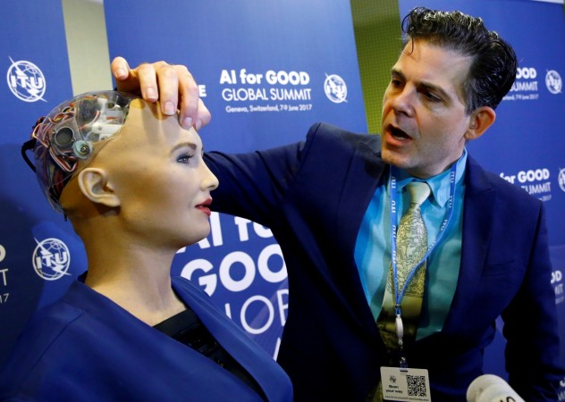 David Hanson of Hanson Robotics presents Sophia, a robot integrating the latest technologies and artificial intelligence, during a presentation at the