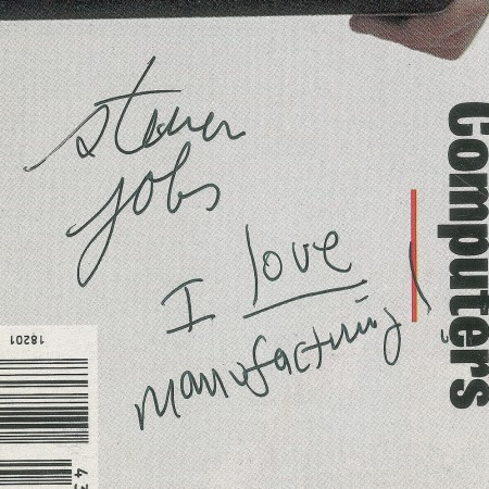 A close-up of Steve Jobs autograph on Newsweek magazine
