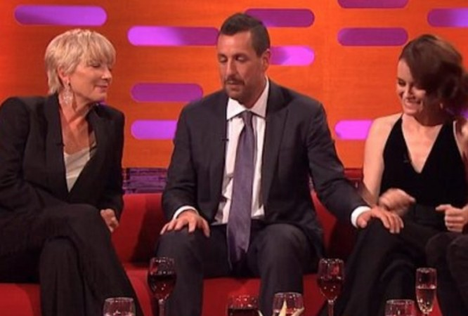 EmmaThompson (L), Adam Sandler (M), Claire Foy (R) in The Graham Norton Show