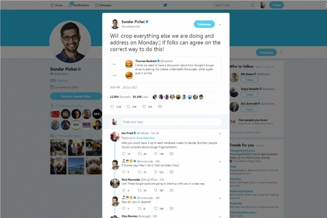 Sundar Pichai's tweet on the issue of