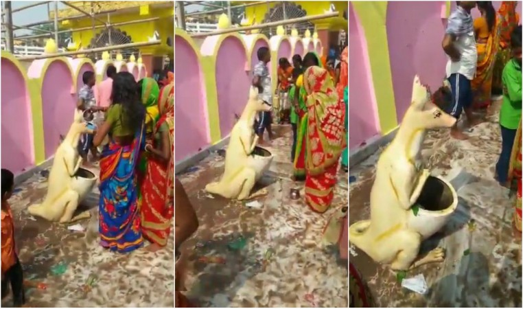 Bihar women worshiping a dustbin