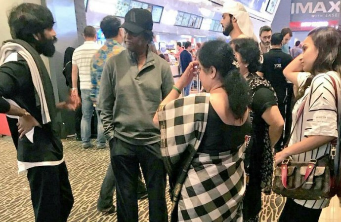 Dhanush, Rajinikanth with his family before arriving at Chennai airport