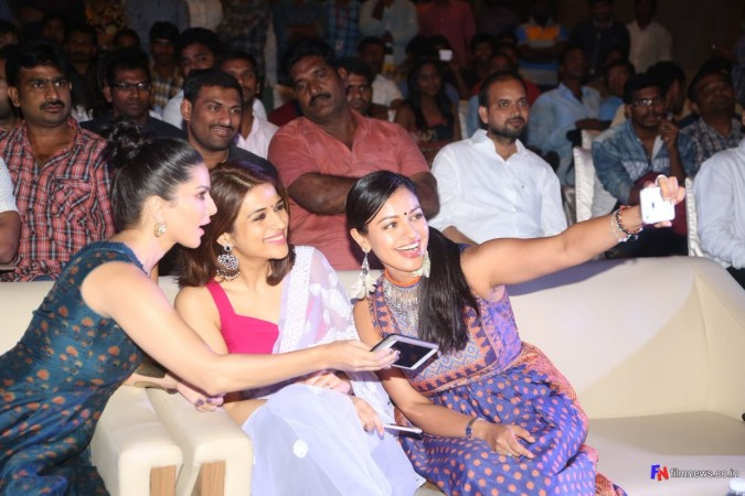 Shraddha Das with Sunny Leone and Pooja Kumar at PSV Garuda Vega event