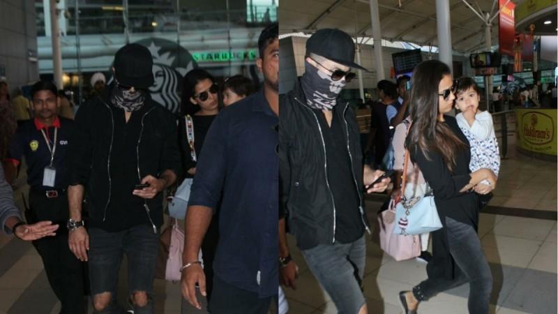 Shahid Kapoor with wife Mira and daughter Misha at Mumbai airport