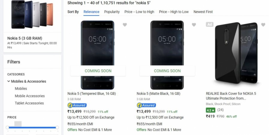 Nokia 5, 3GB RAM, HMD Global Oy, Flipkart, price, specifications, launch offers