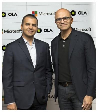 Bhavish Aggarwal, CEO and Co-founder Ola with Microsoft CEO Satya Nadella