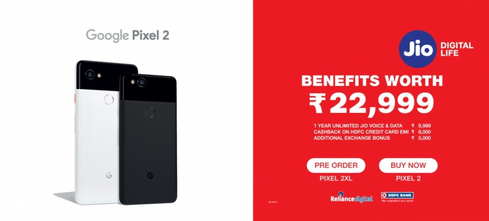 Jio Offers For Google Pixel 2 and Google Pixel 2 XL
