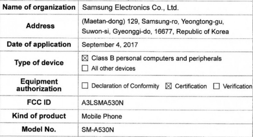 Samsung, Galaxy A5 (2018), FCC, certifications