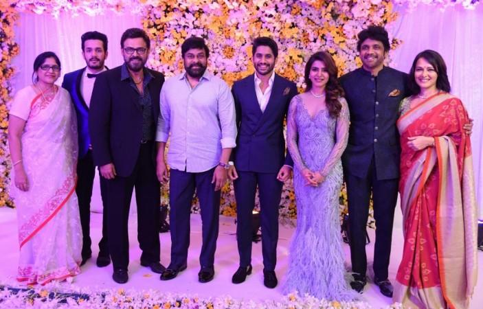 Chiranjeevi and Venkatesh at Naga Chaitanya-Samantha's Wedding Reception