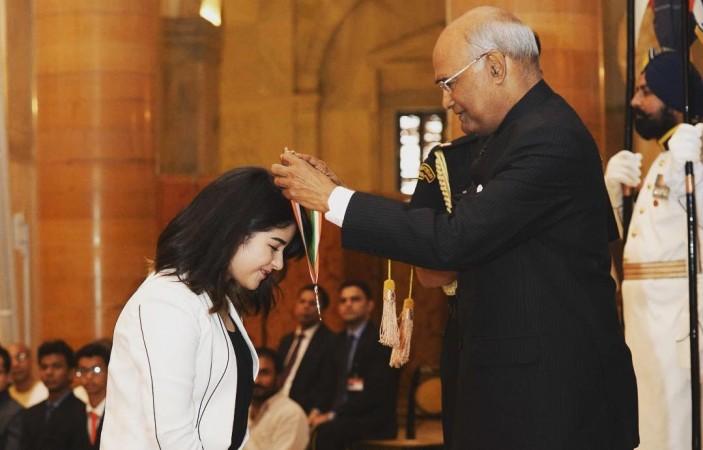 Zaira Wasim and President Ramnath Kovind