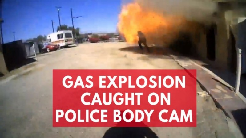 Body cam captures moment unexpected gas explosion injures Indio police officer