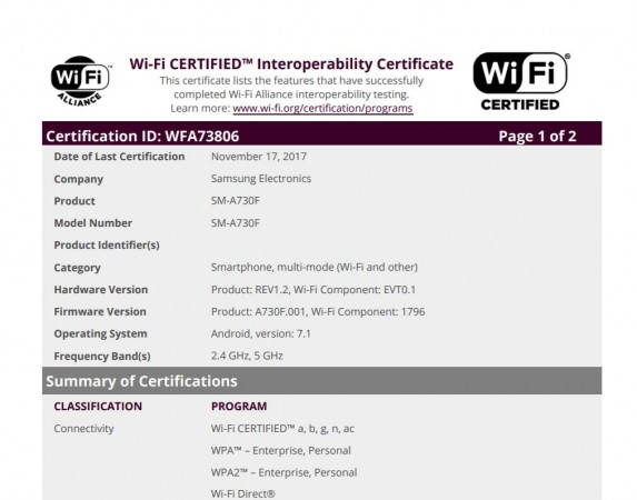 Samsung, Galaxy A7, 2018, SM- A730F, Wi-Fi Alliance, certifications