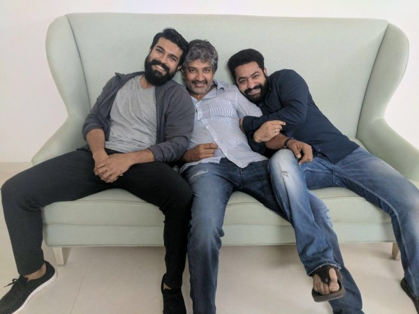Jr NTR, SS Rajamouli and Ram Charan