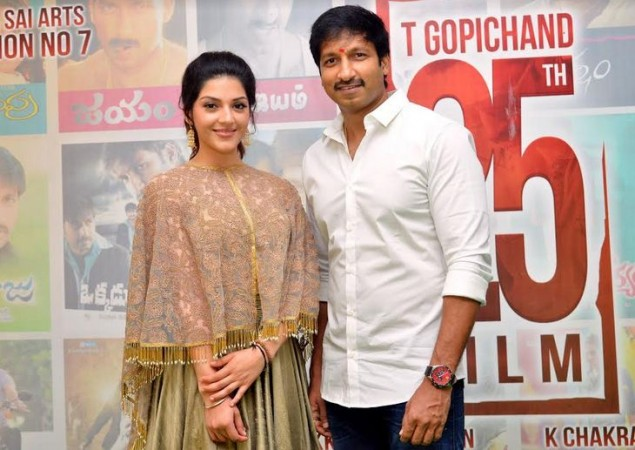 Mehreen Pirzada poses with Gopichand at his 25th film launch