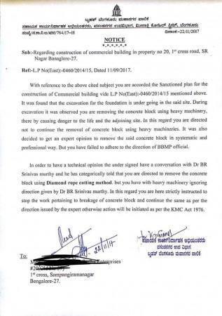 BBMP Notice to builder