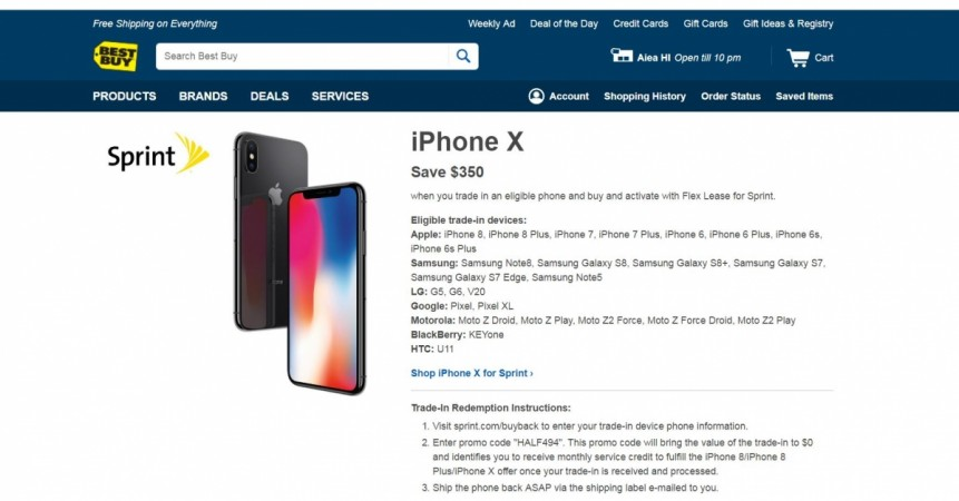 Apple, iPhone X, Best Buy, Sprint, Black Friday sale, 2017