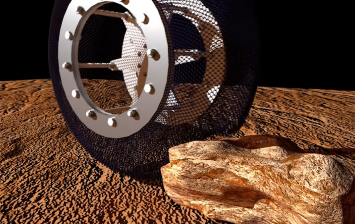 Spring Tire made of nickel titanium, a shape memory alloy, undergoing durability test at NASA's Jet Propulsion Laboratory (JPL).