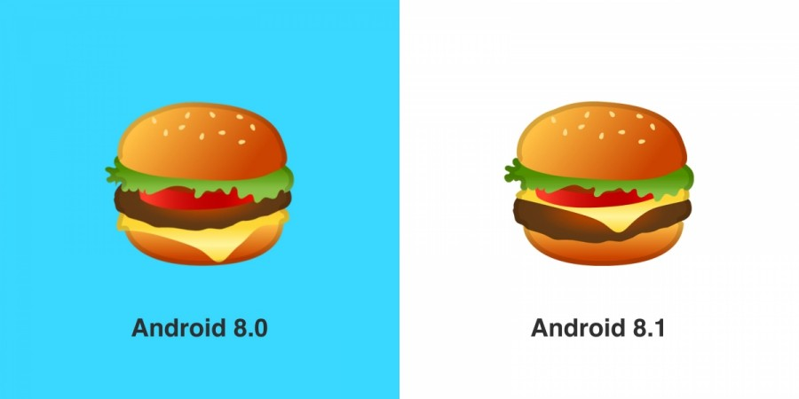 Android 8.1 features the new burger emoji design.