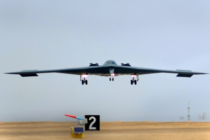 B-2 Spirit bombers returns to home base at Whiteman Air Force Base in Missour