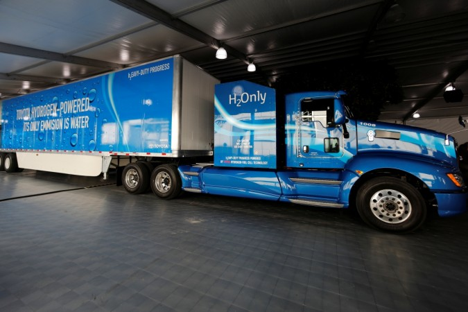A prototype hydrogen powered fuel cell semi-truck is shown by Toyota at the Los Angeles Auto Show in Los Angeles, California, U.S., November 30, 2017.