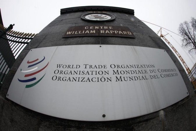 File photo of the World Trade Organization logo seen at the entrance of the headquarters in Geneva April 9, 2013.