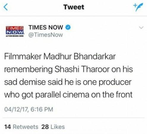 Times Now tweet