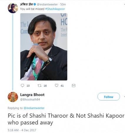 Shashi Tharoor dead mistake
