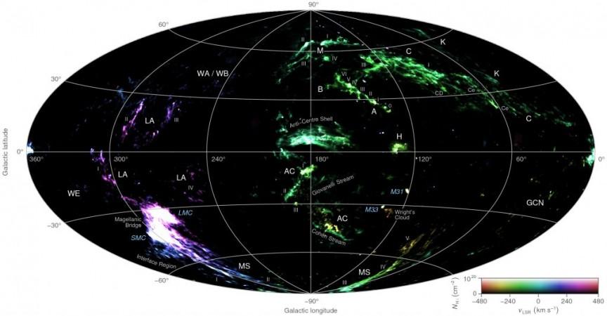 high-velocity cloud, map,