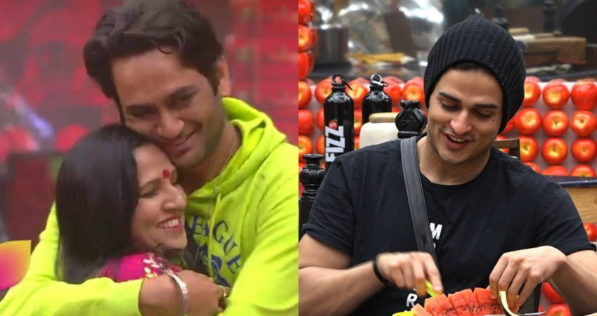 Vikas Gupta with his mother (left), Priyank Sharma (right)