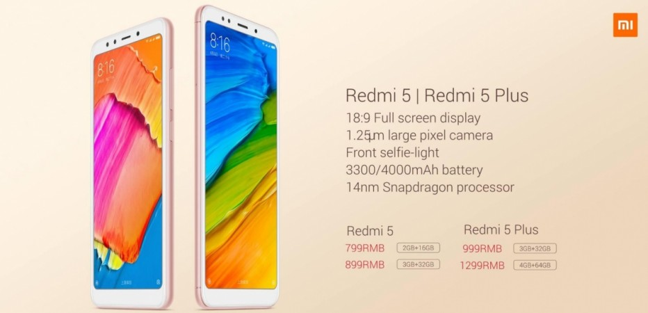 Xiaomi, Redmi 5, Redmi 5 Plus, specifications, features India, launch, price, china, release date