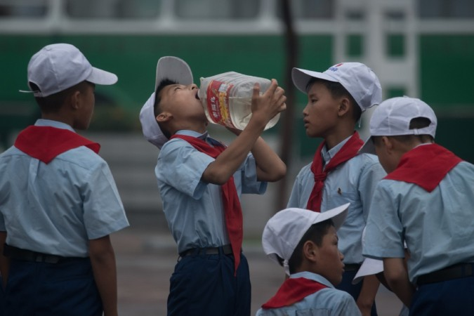 Students drinking water