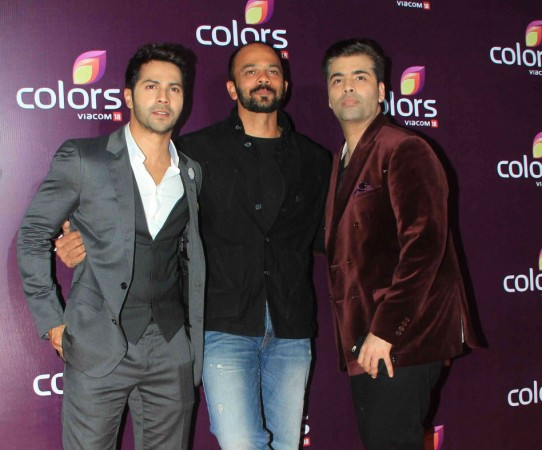 Varun Dhawan, Rohit Shetty and Karan Johar at an event