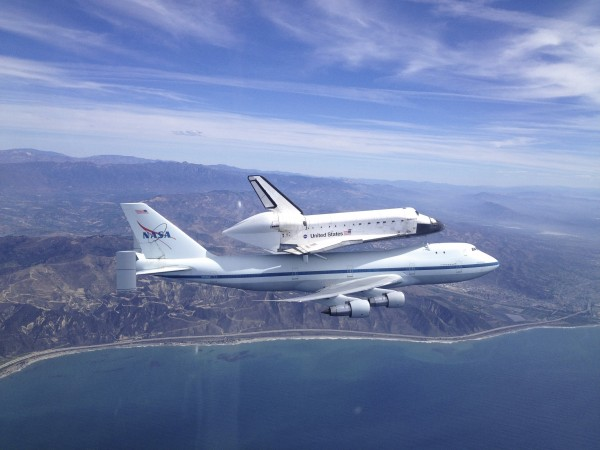 Space shuttle Endeavour, mounted atop a NASA 747