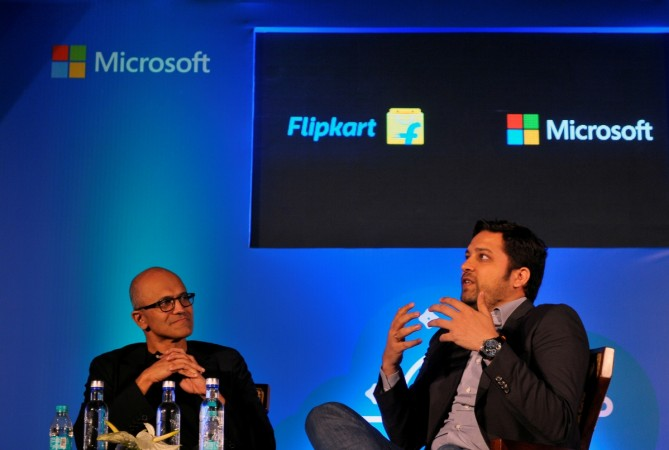 BENGALURU, IndiaMicrosoft Chief Executive Officer Satya Nadella and Flipkart Group Chief Executive Officer and co-founder Binny Bansal attend a news conference in Bengaluru, India, February 20, 2017. REUTERS/Abhishek N. Chinnappa