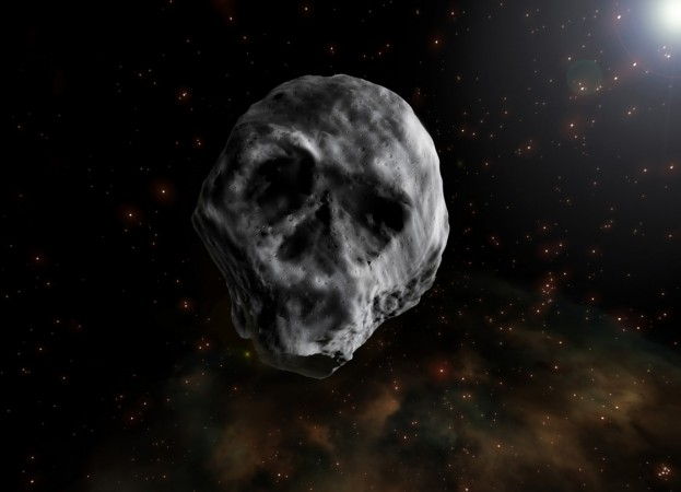 skull shaped asteroid, asteroid, space rock,