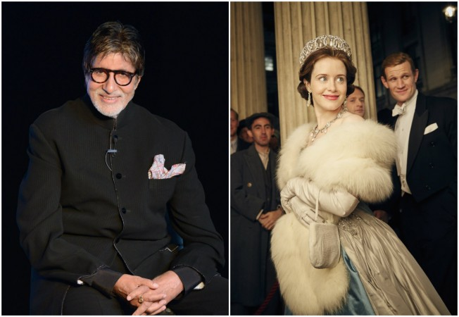 Actor Amitabh Bachchan (L); a still from Netflix's The Crown