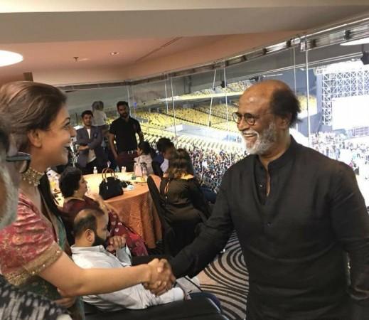 Kajal Aggarwal's fan girl moment with superstar Rajinikanth at Natchathira Vizha 2018