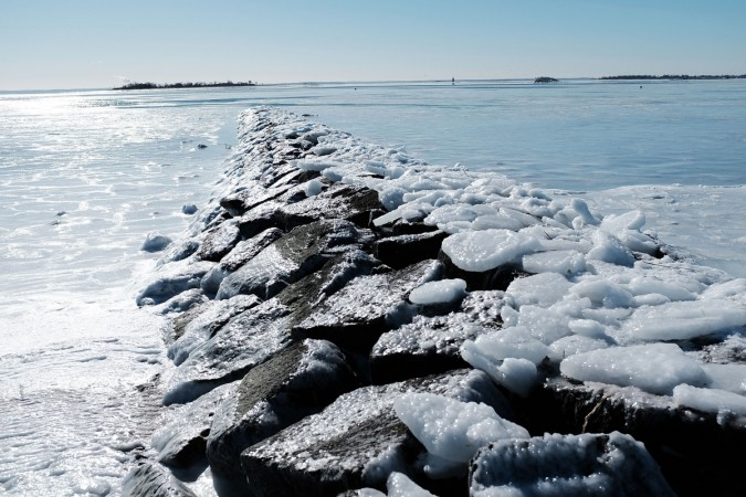 The icy waters of Long Island