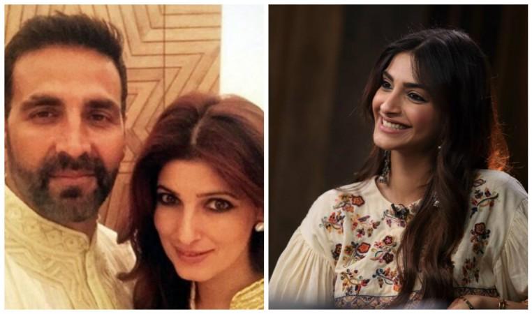 Akshay Kumar, Twinkle Khanna (left) and Sonam Kapoor (right)