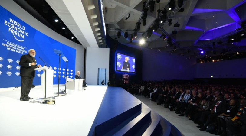 PM Modi delivering his keynote speech, at the plenary session of the World Economic Forum, in Davos on January 23, 2018.