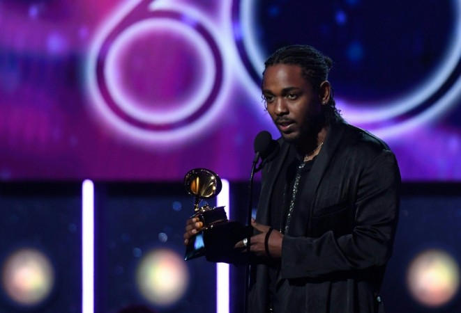 Kendrick Lamar receives the Grammy for the Best Rap Album with DAMN. during the 60th Annual Grammy Awards